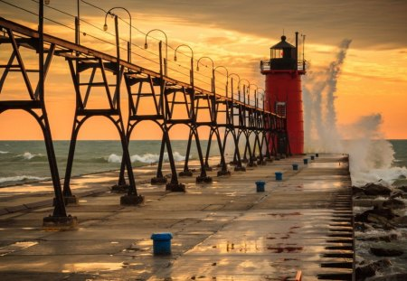 Lighthouse - water, lighthouse, red, bridge
