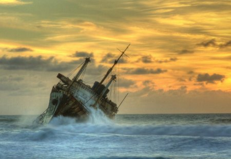 ship wreck in the waves hdr - wreck, beach, ship, hdr, waves, clouds, sea
