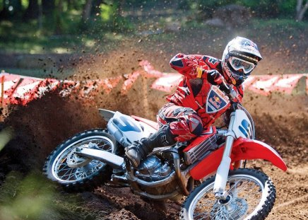 motorcycle - red, race, off-road, mud, yamaha, motorcycle