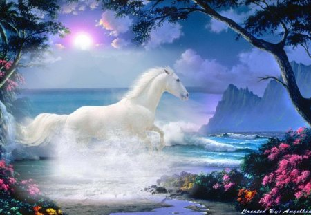 Beautiful White Horse - fantasy, beautiful, horse, horses