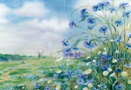 Blue flowers painting flowers nature background wallpapers on blue flowers painting pretty art lovely painted beautiful spring mightylinksfo