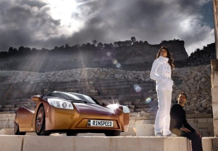 sports car - road, girl, car, chrysler