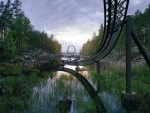 wonderful roller coaster over a lake