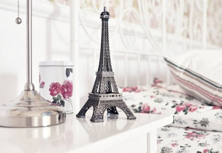 Eiffel Tower - photography, bed, lovely, beauty, beautiful, eiffel tower, bedroom, room, pretty, paris