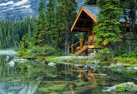 Lake cabin - emerald, lake, wooden, summer, nature, trees, cabin, greenery, reflection, forest, house, cottage, green, mountain, shore