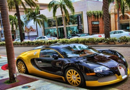 yellow and black bugatti hdr - black and yellow, car, hdr, street, palms