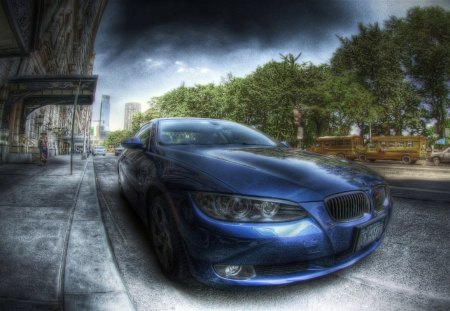 BMW parked on the street hdr - car, parked, hdr, trees, street