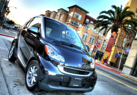 tiny smart car hdr - tiny, car, palm, hdr, street