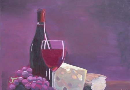 oil painting by Saad KILO - still life, food, wine, bread, Bottle, beverage, grape fruit, chease