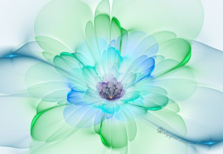 ✰Peacock Pastel in Spring✰ - pretty, transpalent, peacock, beautiful, sweet, Fractal Art, 3D, green, Digital Art, flowers, pollen, florals, blue, lovely, colors, cute, Raw Fractals, cool, petals, pastel