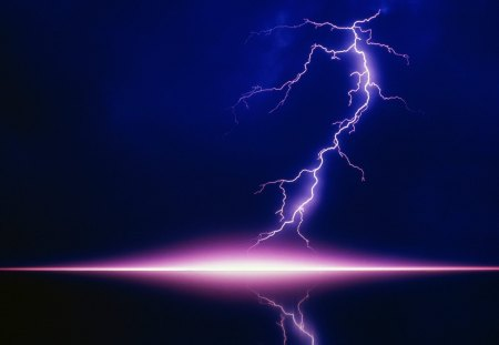 Lightning Strike - force of nature, holy, solid background, nightlite, this is a very unusual lightening strike, lightening, lightning bolt
