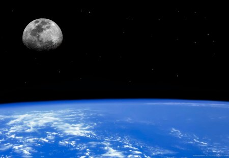 Earths Natural Satellite - natural satellite, it looks like a place with no problems, earth, moon, calm