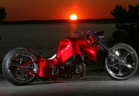 Custom_Chopper - red chopper, bike
