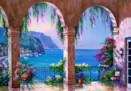 Mediterranean arch - colorful, ocean, breeze, serenity, mediterranean, coast, sea, calm, quiet, flowers, blue, sky, water, nice, summer, nature, beautiful, lovely, arch, shoreline, pretty, view, shore