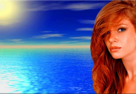 Beautiful Redhead On The Water - pretty, redhead, ginger, red head, beautiful, woman, women, sea, hot, beauty, gorgeous, blue, babe, female, lovely, ocean, red hair, sexy, water, girl, lady