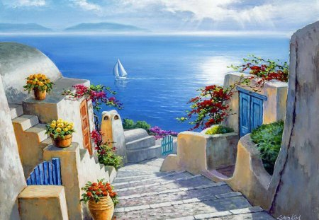 Stairs to the sea - shore, stairs, mirrored, sea, boat, painting, village, reflection, blue, mediterranean, art, rest, vacation, quiet, calmness, clear, sky, lake, waters, serenity, peaceful, summer, crystal, nature, sailboat, coast