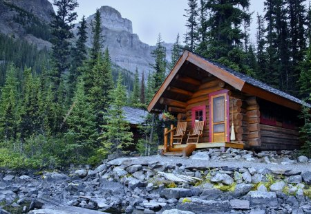 Cabin In The Woods Forests Nature Background Wallpapers On