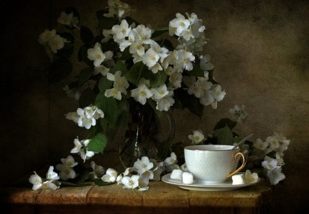 Still Life ✿ - still life, elegance, flowers, blossoms, cup of tea, style