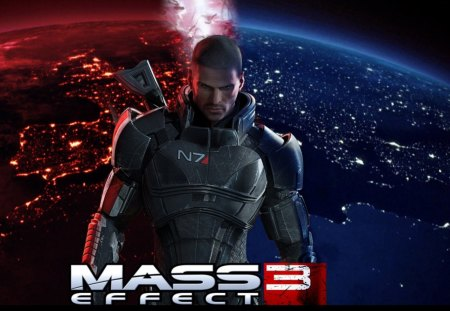 MASS EFFECT 3 - red, ps3, game, effect, red and blue, xbox360, gun, big, wallpaper, mass, 3, pc, blue