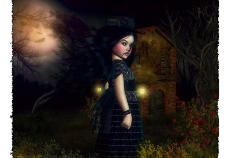 ♥.Glanced of Little Raven.♥ - pretty, dress, cottage, bats, halloween, beautiful, magic, digital art, glanced, hair, leaves, fantasy, moon, gothic, photomanipulation, love, flowers, face, light, animals, night, little raven, female, raven, lovely, lips, dry trees, cute, dark, plants, crow, eyes