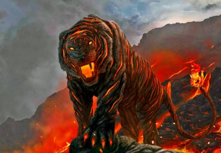 Elemental Form - fire, elemental, fantasy, tiger