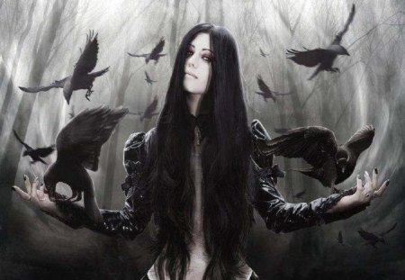 Gemma And Her Ravens - fantasy, gothic, Abstract, woman, animals, ravens