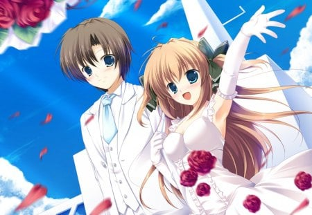 Married Couples - pretty, ce, sweet, floral, nice, groom, love, anime, handsome, beauty, anime girl, long hair, lovely, romance, gown, sky, sexy, happy, short hair, cute, lover, dress, rose, guy, bride, beautiful, hot, wed, couple, bride and groom, female, cloud, male, romantic, smile, wedding, boy, girl, bouquet, flower, petals