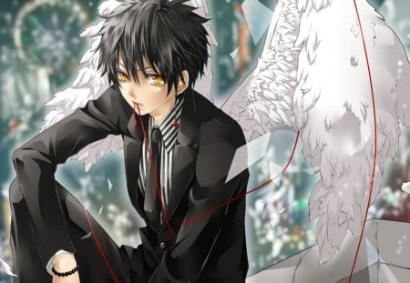 Angel boy other anime background wallpapers on desktop - Boy with rose wallpaper ...