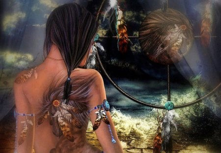 Native American Dreamcatcher - american, dreamcatcher, indian, natine