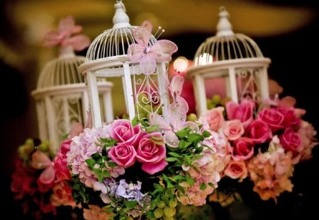 Romantic Lanterns - lanterns, flowers, butterfly, photography, pink, romantic, roses, lantern, decoration, beautiful, lovely, rose, spring, wedding, pretty