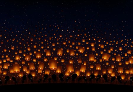Sky Lanterns - red, stars, aliens, lanterns, space, lamps, black, sky, gold, dark, chinese, light, night