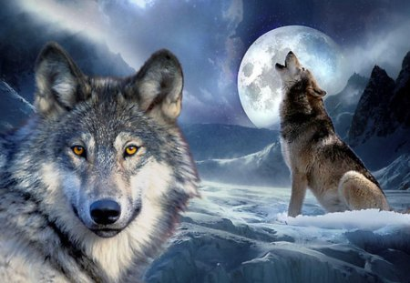Wolves in Fantasy World - howl, sky, wolf, moon, mountains, planet