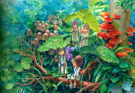Little people - forest, little people, anime, nature, branch