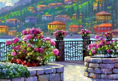 Lake village - pier, lake, town, painting, slope, mediterranean, sea, mountain, cottages, countryside, flowers, blue, water, nice, summer, nature, freshness, houses, beautiful, lovely, river, pretty, village, art, gate, view, fence