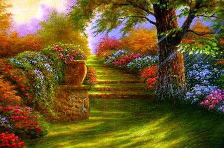 GARDEN STAIRS - spring, colors, painting, stairs, garden