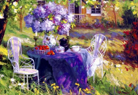 Lilac party - tea, flwoers, lovely, colorful, pleasant, morning, spring, coffee, pretty, beautiful, lilac, trees, art, bouquet, fruits, straqberries, house, table, nice, home, grass, party, painting