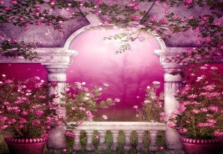 SPRING GARDEN - flowers, pots, structure, creeps, garden
