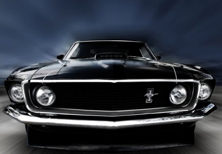 69 Mustang Mach 1 Cobra Jet - Ford, 69, black, cobra, mach 1, Mustang, 1969, fact, car, jet, muscle car