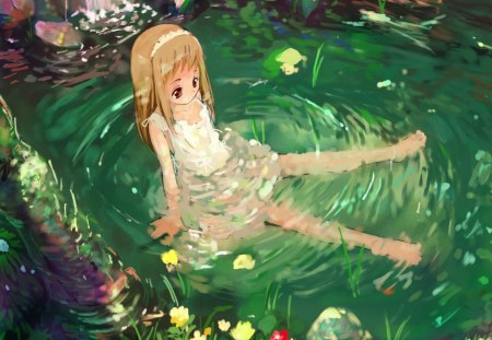sad little girl in nature other amp anime background