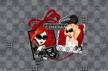 Movie Time - red, checkers, black, girls, movies, white, cartoon, abstract