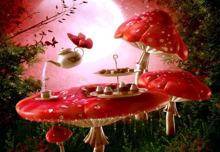 SPRING TEA BREAK - butterfly, teapot, cup, mushrooms, nature, table