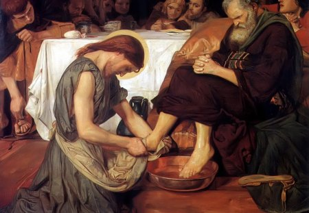 Christ washing Peter's feet - last supper, christ, jesus, wash, foot, bible, god