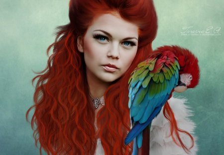 Red Devil - fantasy, macaw, lady, devil, red, bird