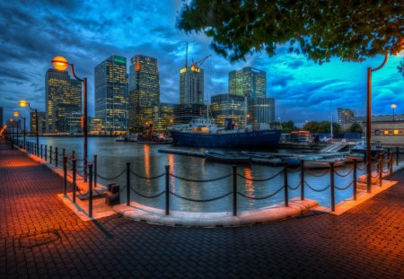beautiful city waterfront at night hdr - city, boats, waterfront, hdr, harbor, night