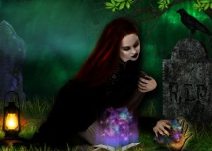 **When Darkness Falls** - pretty, women, sweet, fantasy, splendor, grasses, gothic, photomanipulation, love, emotional, flowers, face, soul, raven, lovely, models, touch, lips, trees, cute, cool, eyes, lantern, beautiful, digital art, hair, emo, leaves, darkness, people, girls, light, animals, lamp, female, colors, grave, spirit, dark, plants, crow
