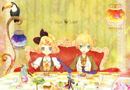 Dessert & Entertainment - vocaloid, table, little people, fish, food, mermaid, rin and len kagamine, fantasy, bird, entertainment, anime, animals