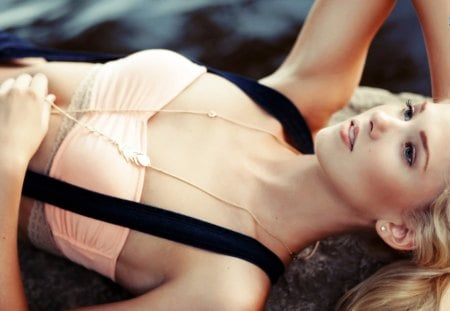 Berit Birkeland - berit birkeland, girl, lying, makeup, hot, pink lips