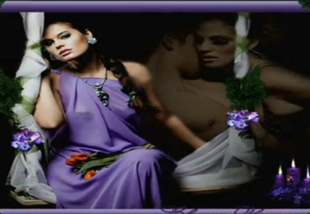 woman - fantasy, beautiful, purple, woman