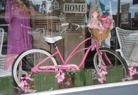 Country Shop Window Display - charming, bicycle, bike, country, pink, old, vintage