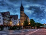 square in front of church in boeblingen germany hdr